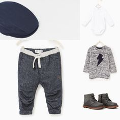 Baby boy outfit Zara 2016 fall collection. Grey trousers and sweater with white body, grey boots abd dark grey hat. Zarakids
