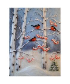 Birch Tree Painting, Three Little Birds, Nature Lover Gift, Birch Tree Wall Art,. Forest Painting, Winter Painting, Winter Art, Wet Felting, Needle Felting, Three Little Birds, Felt Pictures, Bullfinch, Landscape Art