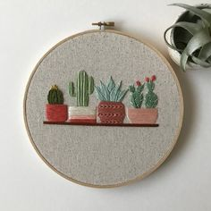 Items similar to Cactus Embroidery Hoop Art / Succulents / Hand Embroidery / Gift for the Home / Wall Art / Home Decor on Etsy Cactus Embroidery, Floral Embroidery Patterns, Simple Embroidery, Hand Embroidery Stitches, Machine Embroidery Patterns, Learn Embroidery, Hand Embroidery Designs, Vintage Embroidery, Crewel Embroidery