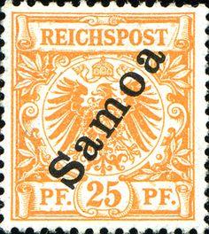 Samoa 1900 Overprint Issue [MiNr 5 a, Sc 55] 25pf  Yellowish orange