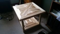 Challenge Your Craft Skills With These Wood Project Ideas. Visit Us For More Wood End Table Designs Diy End Tables, Wood End Tables, Diy Table, Small Furniture, Furniture Design, Repurposed Furniture, Wood Furniture, Furniture Ideas, Woodworking Plans
