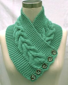 Lots of variation in wearability in this - Neck Warmer Scarf Mint Green Hand… Crochet Scarves, Crochet Shawl, Knit Crochet, Lace Knitting, Knitting Stitches, Knitting Patterns, Hand Knit Scarf, Diy Scarf, Knit Headband Pattern