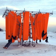 Designers convert lifeguard towers into winter  pavilions for Toronto's frozen beaches