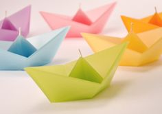 Origami boat candles