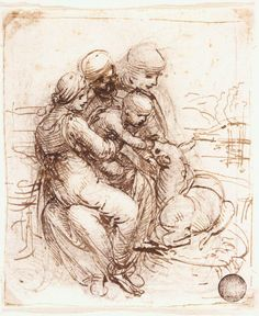 Page: Study of St. Anne, Mary, the Christ Child and the young St. John Artist: Leonardo da Vinci Completion Date: c.1503 Place of Creation: Florence, Italy Style: High Renaissance Genre: sketch and study Technique: ink Material: paper Gallery: Gallerie dell'Accademia, Venice, Italy