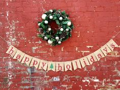 Happy Holidays Burlap Banner Christmas Decoration by 22FiftyThree, $28.00