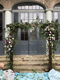 Floral arch at Broussard's in New Orleans Courtyard Wedding, Floral Arch, Backdrops, Wedding Flowers, Outdoor Structures, Patio Wedding, Backgrounds, Bridal Flowers