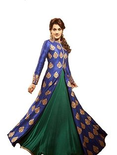 Khazanakart New Attractive Blue Colour Net Fabric Bollywo…