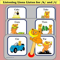 Auditory discrimination and articulation activities for /k/ and /t/ http://www.teacherspayteachers.com/Product/Listening-Lions-Listen-for-k-and-t-315196