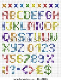 Cross stitch uppercase english alphabet with numbers and symbols. Isolated on white cloth texture