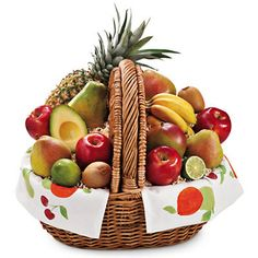 Fresh Fruit Gift Basket - Great for fruit lovers of all kinds, this reusable picnic basket is filled to the brim with our premium fruits!
