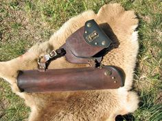 Nobles  Belt Quiver with Pouch in Chocolate Water Buffalo and Deer. $325.00, via Etsy.