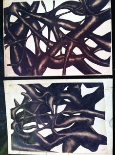 Wall size charcoal drawings by Zoe Bailey...art college 90s