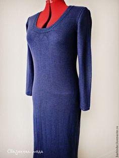 """Вязаное длинное платье """"Аметистовое небо """" - тёмно-синий,платье,платье вязаное"""