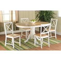 Simple Living Farmhouse 5 or 7 piece White Natural Dining Set by