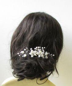Ivory Silver Vine Flower Hair Comb Bridal by Starcrossedbeauty