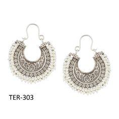 Mother's Day Gift Handmade Tribal Silver White Stone Hoop Earrings Women Jewelry