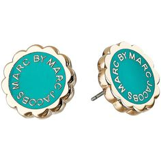 Marc by Marc Jacobs Enamel Scalloped Logo Disc-O Studs Earrings ($48) ❤ liked on Polyvore featuring jewelry, earrings, wintergreen, marc by marc jacobs jewelry, enamel jewelry, logo earrings, disc earrings and disc jewelry