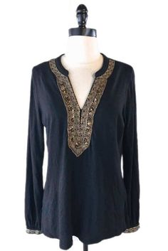 Lucky Brand Tunic Top Sz M 100% Cotton Black Gold Beaded Blouse Boho Shirt #LuckyBrand #Tunic #Casual