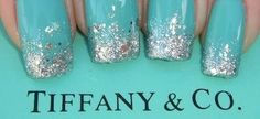 Aqua and silver glitter nails