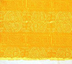 "Vintage Early Marimekko Printex Fabric -- Maija Isola -- Mid Century Finnish Textile -- Yellow Orange -- Folk Inspired Pattern -- 52"" x 55"" by ImprovGoods on Etsy"