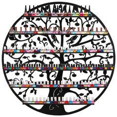 Ornate Bird & Tree Design Black Metal Wall Mounted 6-Tier Large Nail Polish Rack / Organizer Display - MyGift®