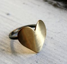 Large Brass Heart Ring