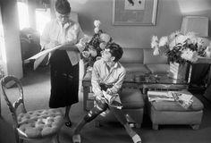 Audrey Hepburn and costume designer Edith Head on the set of 'Sabrina'.