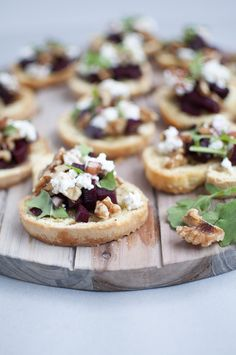 Crostini with walnuts, goat cheese & beets.