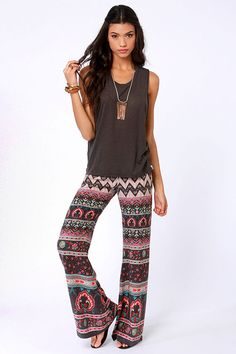 Billabong Beauty Bells Pants - Scarf Print Pants - Bell-Bottom Pants - Wide-Leg Pants - $44.00