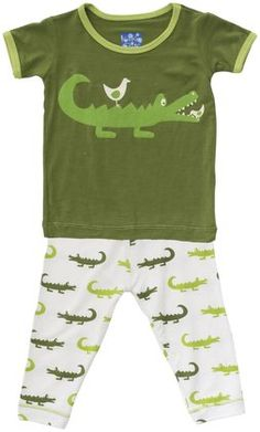 6ec7fe21387fbe Kickee Pants Print Pajama Set (Baby) - Natural Crocodile Toddler Fashion