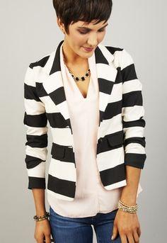 kensie ponte striped blazer - Google Search