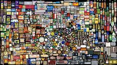 'My Things - Book Keeping of 07 B' by Hong Hao, showing at Pace Gallery Beijing, mosaic of found objects Mosaic Art, Mosaic Glass, Pebble Mosaic, Things Organized Neatly, Collections Of Objects, Found Object Art, Illustration, Find Objects, Time Magazine