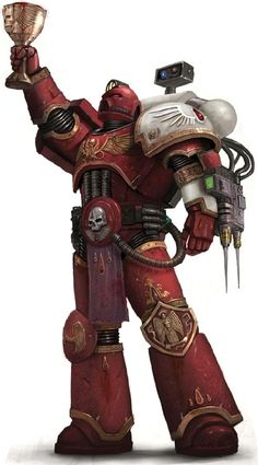 Blood Angels Sanguinary Priest lifts the Red Grail, keeper of Sanguinius' genetic legacy