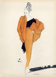 Lucien Lelong 1946 René Gruau, Evening Gown, Fashion Illustration