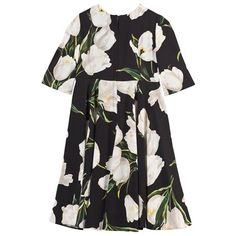 Tulip Print Dress with Sleeves