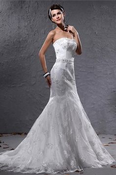 Floor Length Natural Waist Thin Glamorous & Dramatic Lace White Wedding Dress $213.99