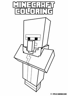 Printable Minecraft coloring - Villager