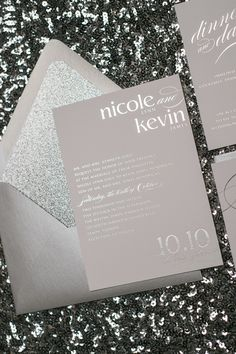 Fabulous Silver Foil Stamped Sparkly Glitter Wedding Invitations by Just Invite Me
