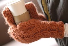 super bulky knit mittens.
