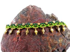 Unique, handmade thai micro macrame anklet in a new lime and dark green design - perfect for spring.