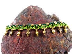 Thai Anklet Green Spring Golden Flowers Beads Tribal Boho Micro Macrame