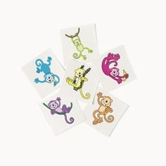 "36 ~ Neon Monkey Temporary Tattoos ~ Approx. 1.5"" ~ New ~ Jungle Zoo Safari Party Favors -- Check out the image by visiting the link. (This is an affiliate link) #NoveltyGagToys"