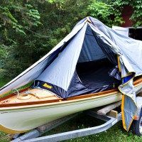 """A """"Rokk"""" tent is a perfect fit for a Melonseed Skiff"""