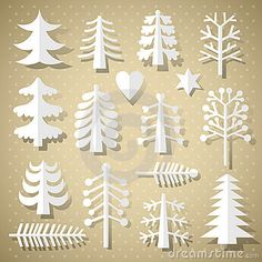 Free Vector illustration of Various different Christmas Tree Paper Cutting Merry Christmas Greetings Decoration design elements