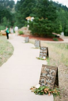 calligraphy love quote sign wedding walkway ideas