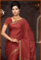 Dusty Red Pure Mysore Silk Saree With Blouse