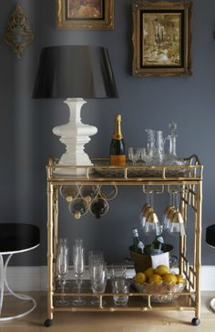 Wish I had room for a bar cart. Doesn't every dining room need one?