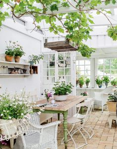 Rustic furniture complements an antique brick floor perfectly in this bright and airy garden room. Outdoor Rooms, Outdoor Gardens, Outdoor Living, Outdoor Furniture Sets, Outdoor Decor, Rustic Furniture, Antique Furniture, Conservatory Furniture Ideas, White Wicker Patio Furniture