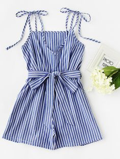 Vertical Striped Self Tie Shoulder Belt Romper -SheIn(Sheinside)